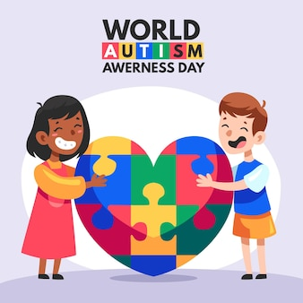 Hand drawn world autism awareness day illustration with puzzle pieces
