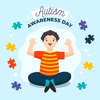 Нарисованная рукой иллюстрация дня осведомленности об аутизме с частями головоломки
