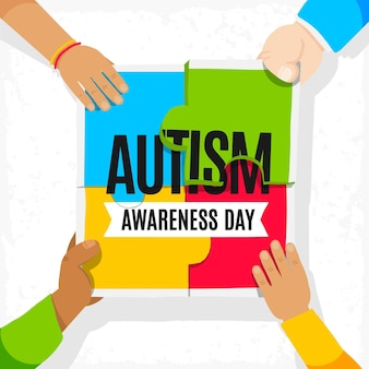 퍼즐 조각으로 손으로 그린 세계 자폐증 인식의 날 그림