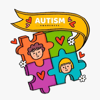Нарисованная от руки иллюстрация всемирного дня осведомленности об аутизме