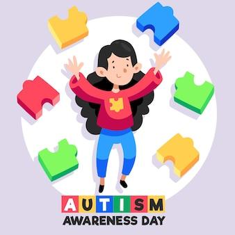 손으로 그린 세계 자폐증 인식의 날 그림