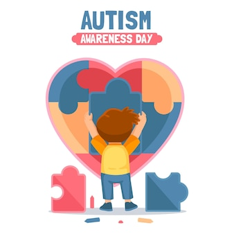 Нарисованная рукой иллюстрация всемирного дня осведомленности об аутизме