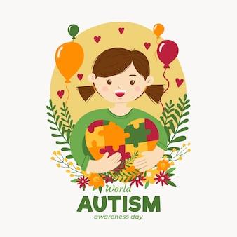 手描きの世界自閉症啓発デーのイラスト