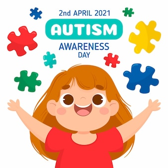 Hand drawn world autism awareness day illustration