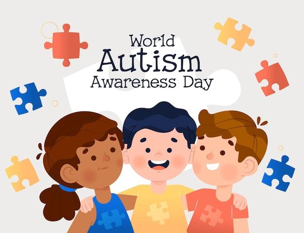 Нарисованная рукой иллюстрация дня осведомленности аутизма