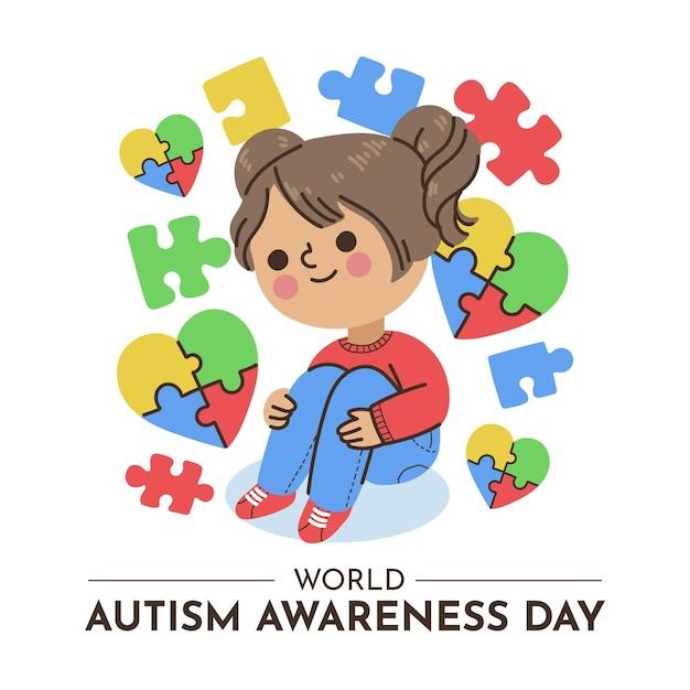 Hand drawn world autism awareness day illustration