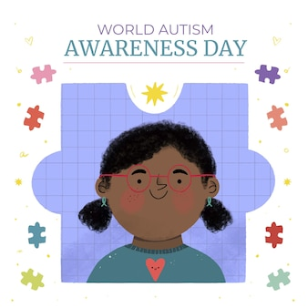 Hand drawn world autism awareness day illustration Free Vector