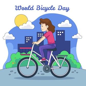 손으로 그린 세계 자전거의 날 그림