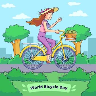 Нарисованная рукой иллюстрация всемирного дня велосипеда