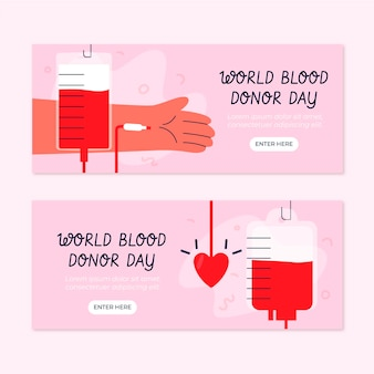 Hand drawn world blood donor day banners set