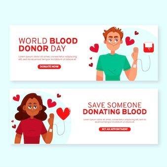 손으로 그린 세계 헌혈자의 날 배너 세트