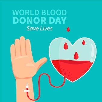 Нарисованная рукой иллюстрация всемирного дня донора крови