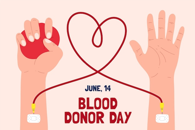 Hand drawn world blood donor day illustration