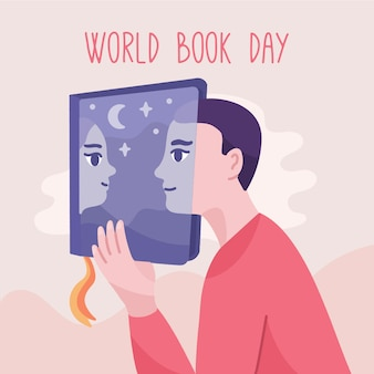 Hand drawn world book day background with boy and girl