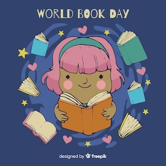 Hand drawn world book day background