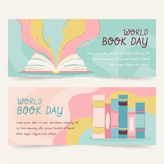 Hand drawn world book day banners set