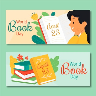 Set di banner di giornata mondiale del libro disegnati a mano