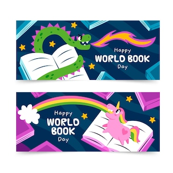 手描きの世界の本の日のバナーセット 無料ベクター