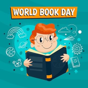 Hand drawn world book day concept