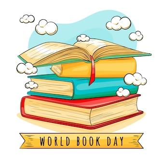Concetto di giorno del libro del mondo disegnato a mano