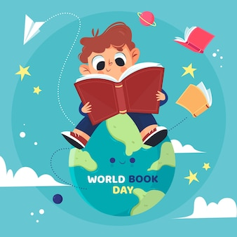 Hand drawn world book day concept