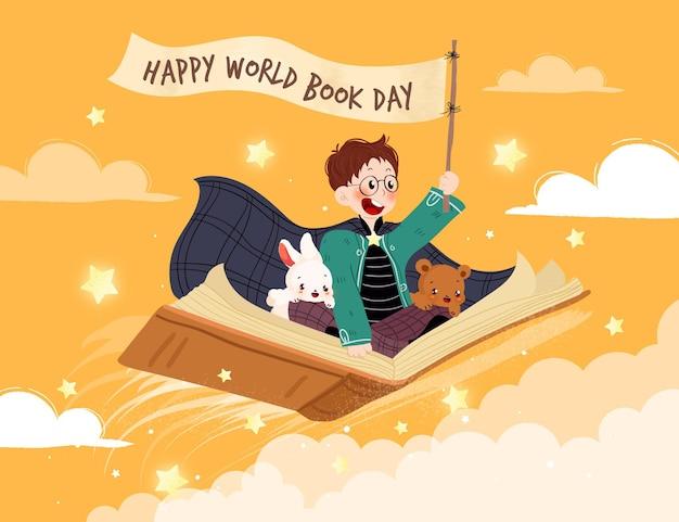 Нарисованная рукой иллюстрация всемирного дня книги с приветствием