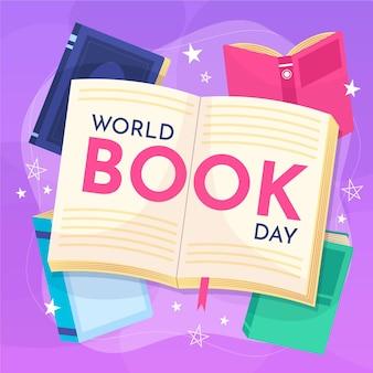 開いた本と手描きの世界図書日イラスト