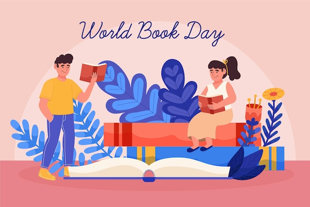 Hand drawn world book day illustration with people reading books