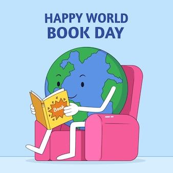 惑星の読書と手描きの世界図書の日のイラスト