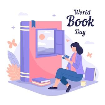 독서하는 여자와 손으로 그린 세계 책의 날 그림