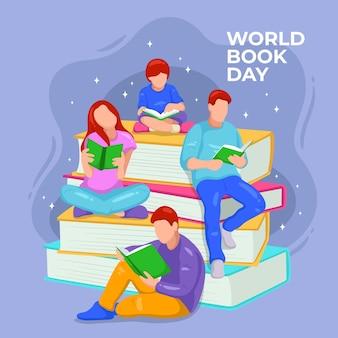 Hand drawn world book day illustration