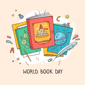 Hand drawn world book day illustration