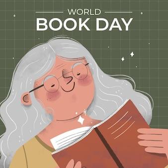 Нарисованная рукой иллюстрация всемирного дня книги