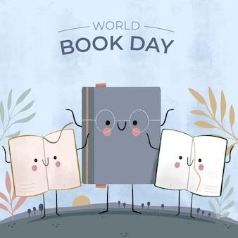 手描きの世界図書の日のイラスト