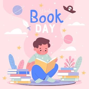 Нарисованная рукой иллюстрация всемирного дня книги Бесплатные векторы