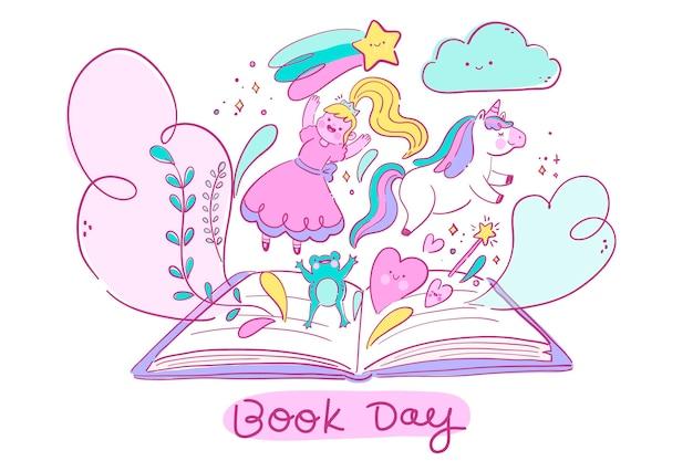 手描きの世界の本の日のイラスト