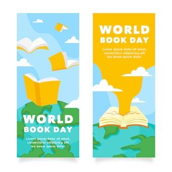 手描きの世界図書の日の垂直バナー