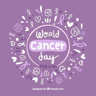 Hand drawn world cancer day background