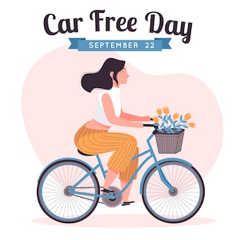 Hand drawn world car free day background with woman