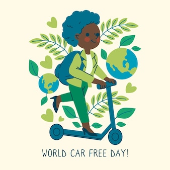 Hand drawn world car free day concept