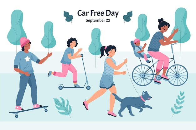 Hand drawn world car free day