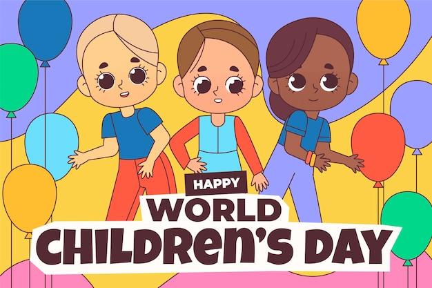손으로 그린 세계 어린이 날 배경