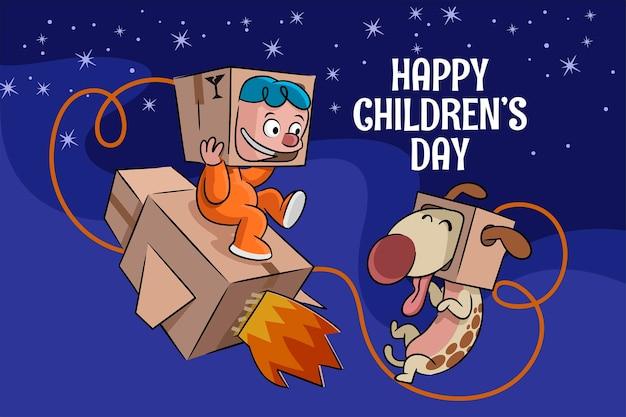 Hand drawn world children's day background