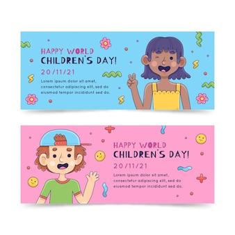 Set di bandiere orizzontali disegnate a mano per la giornata mondiale dei bambini