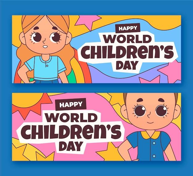 Hand drawn world children's day horizontal banners set