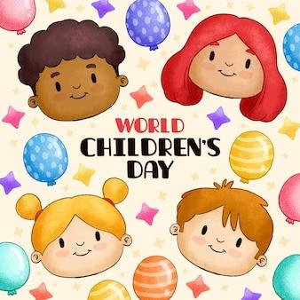 Нарисованная рукой иллюстрация всемирного дня защиты детей