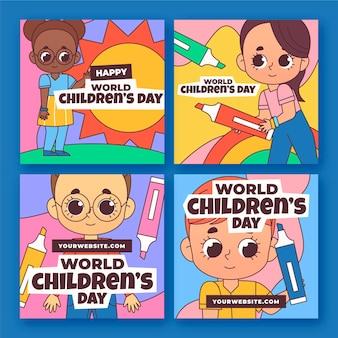 Hand drawn world children's day instagram posts collection