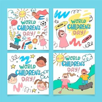 Collezione di post instagram per la giornata mondiale dei bambini disegnati a mano