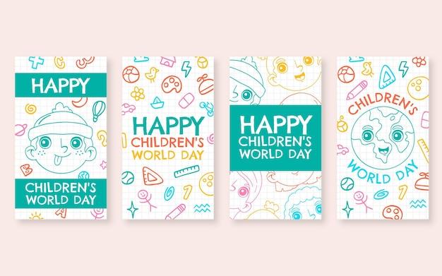 손으로 그린 세계 어린이 날 인스 타 그램 스토리 컬렉션