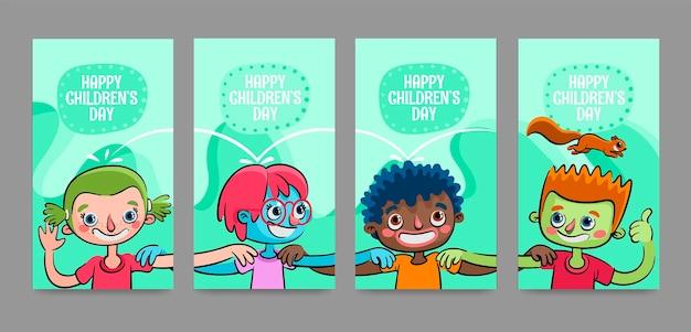 Storie di instagram disegnate a mano per la giornata mondiale dei bambini